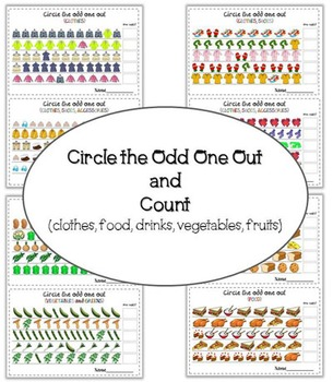 Circle the odd one out and count (fruits, vegetables, clot