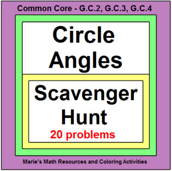 Circles - Angles in Circles (Scavenger Hunt) 20 Problems w