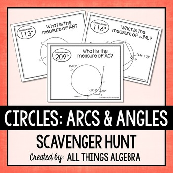 Arcs and Angles in Circles Scavenger Hunt