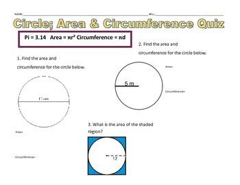 Circles Area & Circumference 3 Question Quiz
