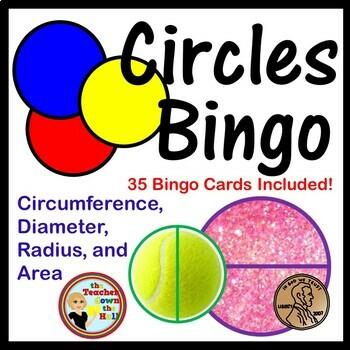 Circles Bingo - Geometry of Circles: Area, Circumference,