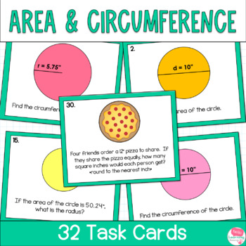 Circles- Area and Circumference- Task Cards