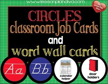Circles Classroom Job Cards and Word Wall Cards