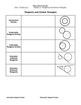 Circles-Geometry Vocabulary