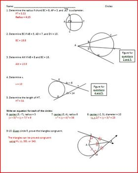 Circles: Segments and Angles (WS)