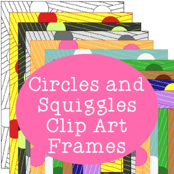 Circles Squiggles Frames Clip Art PNG JPG Blackline Includ