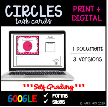 Circles Task Cards and Poster Set ~Aligned to CCSS 7.G.4~