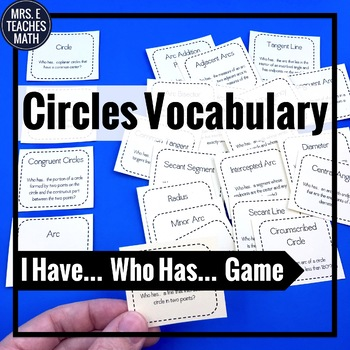 """Circles Vocabulary """"I Have, Who Has"""" Game"""