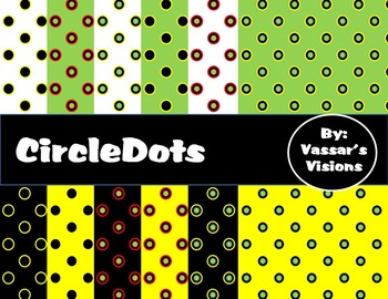 Digital Paper Circle Dots with Matching File Folder Tabs