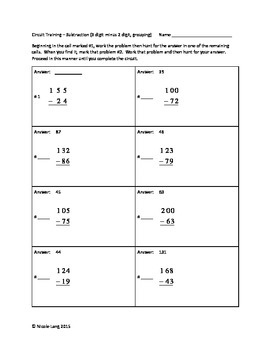 Circuit Training - Second Grade Subtraction with Re-Grouping II