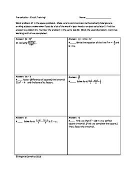 Circuit Training - Algebra 2 Review - Precal Preview