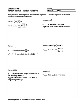 Circuit Training Calculus (AB) First Semester Review