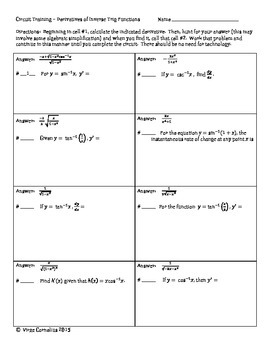 Circuit Training - Derivatives of Inverse Trig Functions (