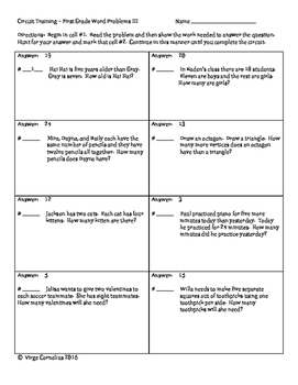 Circuit Training - First Grade Word Problems III (elementary)
