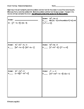 Circuit Training - Polynomial Operations