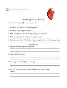 Circulatory Pre/Post Test the heart