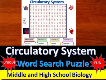 Circulatory System -  a fun & unique Word Search Puzzle (G
