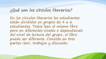 Circulos literarios en la clase de idioma dual.