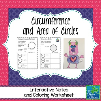 Circumference and Area of Circles - Coloring Activity & Notes