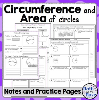 Circumference and Area of Circles - Interactive Notes, Pra