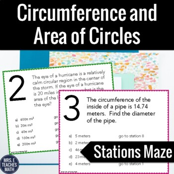 Circumference and Area of Circles Stations Maze Activity