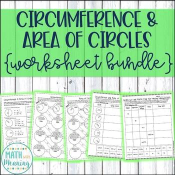 Circumference and Area of Circles Worksheet Bundle - CCSS 7.G.B.4