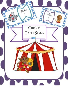 Circus Animal Themed Table Signs