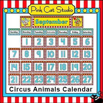 Calendar Set - Circus Animals Theme