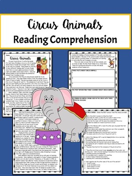 Circus Animals Debate Informational Text Reading Comprehension