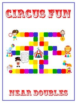 Circus Fun - Fun Math Folder Game - Adding Near Doubles -