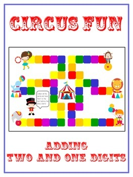 Circus Fun Math Folder Game - Common Core - Adding 2 and 1