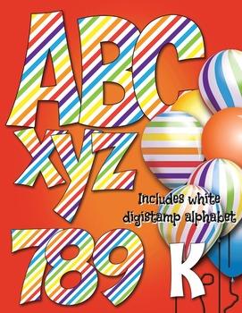 Circus Striped Alphabet and Digital Stamp - 7 Clip Art 3D