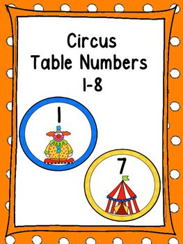 Circus Table Numbers 1-8