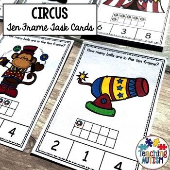 Circus Ten Frame Task Cards