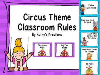 Circus Theme Classroom Rules