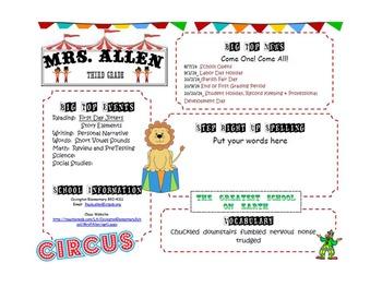 Circus Theme Newsletter 2