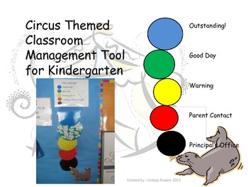Circus Themed Classroom Management Tool for Kindergarten