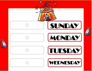 Circus Weekday Chart! Circus Theme! Circus Bulletin Board!