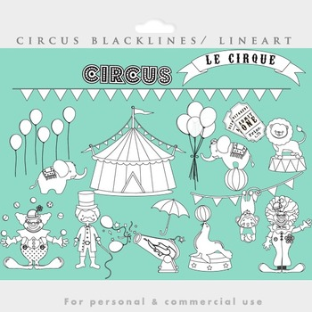 Circus blacklines lineart line art black lines seal clowns