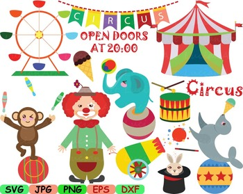 Circus carnival Clown candy Clip art svg food candy animal