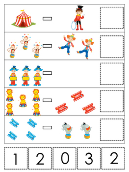 Circus themed Math Subtraction preschool learning game.  D