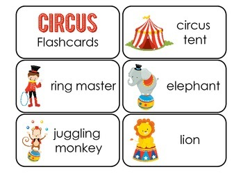 Circus themed Picture and Word Flash Cards.  Daycare learning.