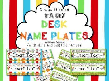 Circus/Wacky Desk Name Plates {with skills and editable na