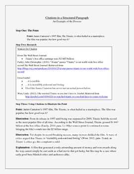 Citations in a Structured Paragraph - An Example of the Process