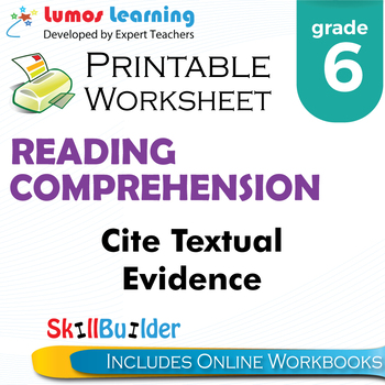 Cite Textual Evidence Printable Worksheet, Grade 6