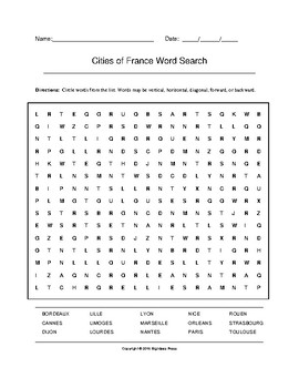 Cities of France Word Search (Grades 7-9)