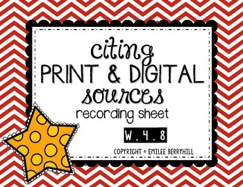 Citing Print and Digital Sources - Recording Sheet