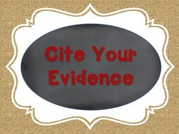 Citing Evidence Chalkboard, Burlap, and Red