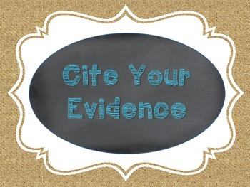 Citing Evidence Chalkboard, Burlap, and Teal