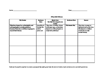 Citing Textual Evidence Graphic Organizer